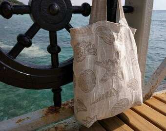 Linen beach bag, Tote beach bag, Summer bag, Shell beach bag, Linen shopping bag