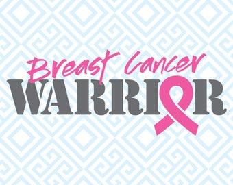 Breast Cancer Warrior SVG, Breast Cancer Digital File for Silhouette and Cricut, Pink Ribbon SVG, DFX, Breast Cancer clip art, 52luna