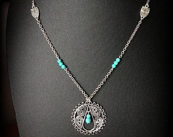 Necklace silver chain, round pendant with turquoise beads