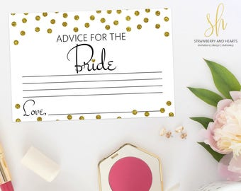 Printable Bridal Game, Advice For The Bride, Gold Confetti, Gold Glitter, Bridal Shower Game, Wedding Shower Game, Instant Download, SH08