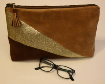 Chocolate Suede beige and gold leatherette pouch