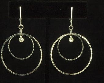 Fashion Dangle Circle Clip On/Non Pierced Earrings Accented with Rhinestones 2 in #6650