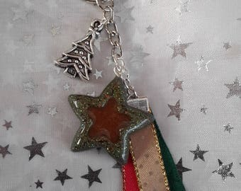 Keychain Christmas star in resin, ribbons and Christmas tree