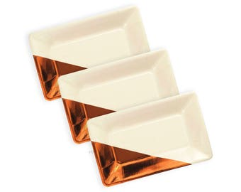 Copper Plates   Ivory and Copper Metallic Foiled Plates   Christmas Party Decoration   Size: 9 x 5.5 inches   Set of 8