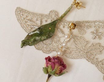 Rose and leaf earrings