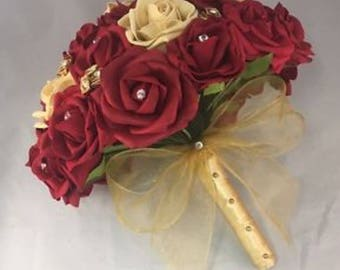 Bride Artifical Wedding Flowers Ruby Dark Red Gold Foam Rose Bouquet Posie Asian Other Colours