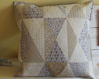 Pillow cover silver and gold 45/45 back Gray jacquard