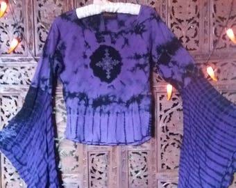 purple tie dye goth hippie top 70s style