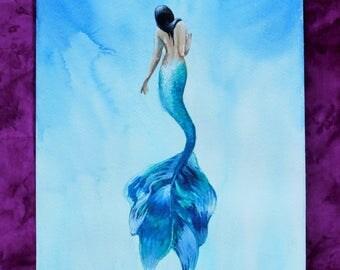 Mermaid Nursery Decor, Mermaid Print, Mermaid Wall Art, Purple Turquoise , Mermaid Art Print, Watercolor Mermaid,
