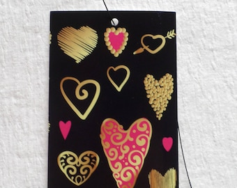 100 CLOTHING TAGS JEWELRY Tags Accessories Tags Boutique Tags Cute Gold & Pink Hearts Rebe's Creations Retail Tags W 100 Self-Locking Loops