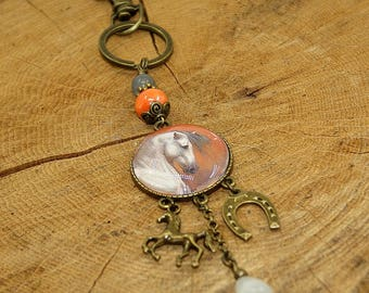 Keychain, bag cabochon beads and horse