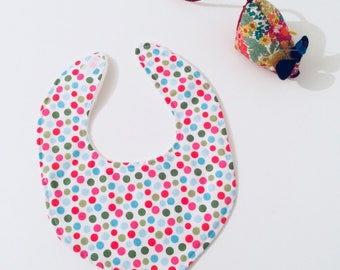 Spotty dribble bib, polka dot drool bib,  baby bib, baby shower gift, handmade baby bib, unique baby gift