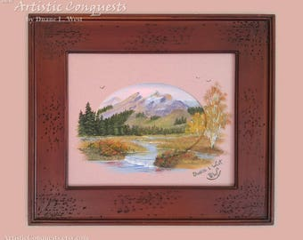 """ORIGINAL Oil Painting - """"Three Creek Meadow,"""" Idaho Painting / Pacific Northwest Mountain Valley Landscape Art - Framed, 8x10"""" Miniature"""