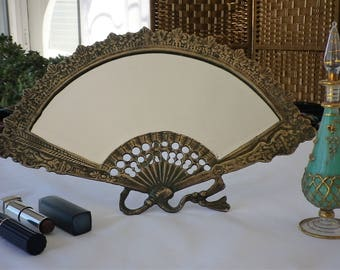 Fan-shaped Vanity Mirror with Original Bevel Edge Glass, Brass Art Nouveau Style, Dressing Table Mirror, Boudoir Mirror
