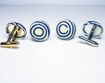 Aftican Print Cuff Links // Navy Blue and Cream Cuff Links