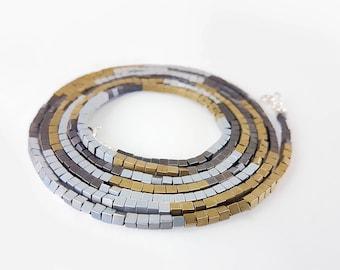 Cube bead bracelet, Autumn colors bracelet, 3 colors bracelet, Hematite cube bracelet, Cube wrapped bracelet, Stack bracelet long necklace