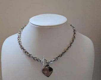 ON SALE Vintage Sterling Silver Necklace with Silver Heart Pendant