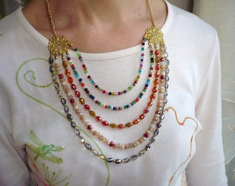 Necklace mid-length cut Crystal beads