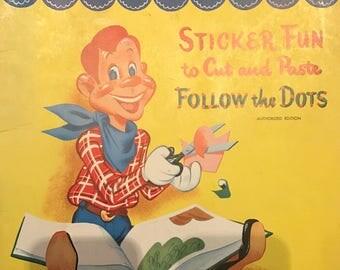 Howdy Doody Sticker Fun Cut Paste Follow the Dots Coloring Book 1951 Kagran Activity Whitman Pub