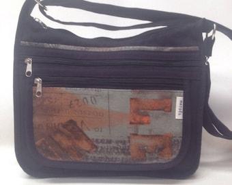 a shoulder bag m black fabric and fancy