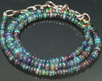 "32 Carats 3to6 mm 16"" Ethiopian Fire Opal Black Roundel Beads Necklace 46530"