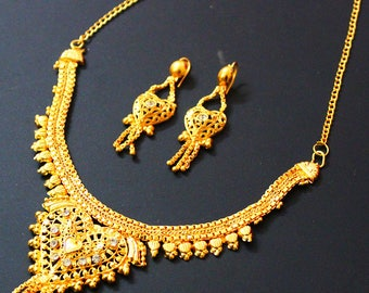 Women Jewelry Gold Necklace Earring Set Traditional Wedding Necklace Set Indian Bridal Jewellery Fashion Drop Dangle Necklace Gift Set