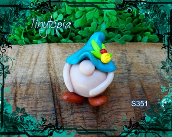 Miniature blue flower hat gnome! Handmade and one of a kind. Fairy garden accessory!