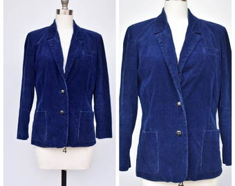 1970s dark blue corduroy blazer /medium