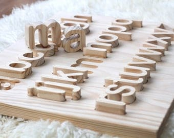 Lowercase Wooden Alphabet Letters puzzle Waldorf Montessori toy| Tracing  letters board Preschool learning Eco friendly Toddler present