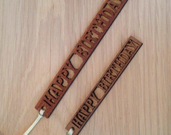 Happy Birthday Wooden Gift Tag