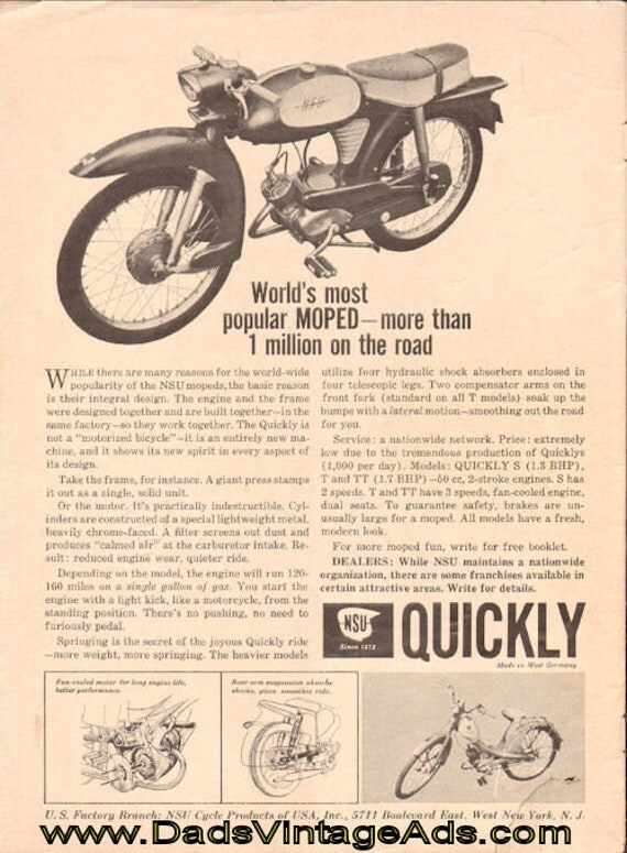 1960 NSU Quickly Moped Ad #e60jaa11