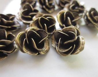 Brass Flower Beads, Realistic Multi-Petal Flower Beads, 12mm x 7mm