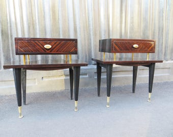 Pair of french mid-century side tables or nightstands
