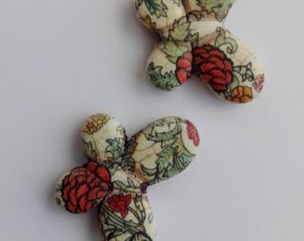 35x25mm pattern aged look howlite Butterfly bead