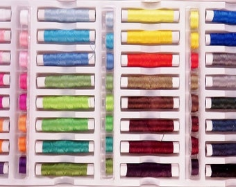 Set of 64 spools of thread to sew multi-use colorful polyester