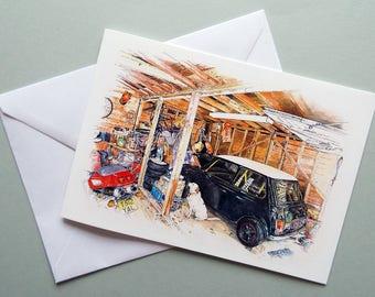 Mini Car Card, A5 Greetings Card, Racing Mini, Classic Car Card, Mini Lover, Car Lover Card, Card For Him, Car Card, Mechanic Card, Garage