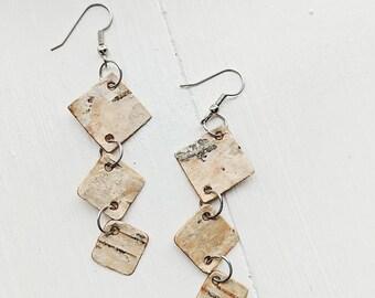 Birch Bark Graduated Diamond Shape Dangle Earrings