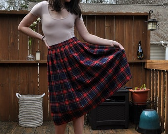 Vintage Wool Blend Plaid Midi Tea Length Skirt Size Small