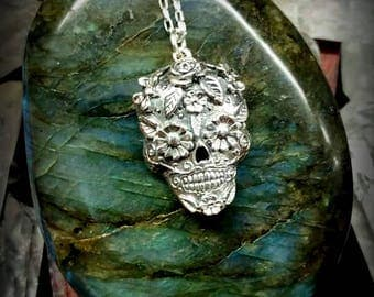 day of the dead skull sterling necklace