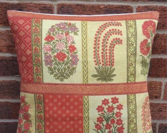 """16"""" Red & Gold Vintage Oriental Cushion Cover Indian, Shabby Chic, Cottage Chic"""
