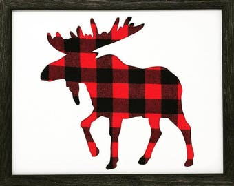 "18x24 1.75"" Rustic Black Frame with Moose and Buffalo Plaid"