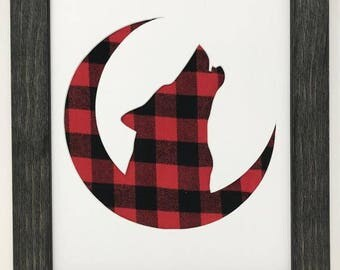 """11x14 1.75"""" Rustic Black Frame with Wolf on Moon and Buffalo Plaid"""
