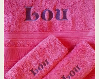 bath towel embroidered 100 x 150 with name + 2gants