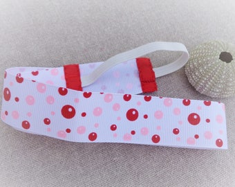 Headband wide child bubble of SOAP, pink and red on white 51 cm