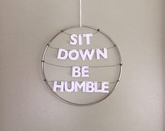 Kendrick Lamar Handmade Silver Metal Wreath Humble Rap Lyrics | Dainty Delicate Letters on String | Stay Woke Dorm Office Home Inspiration