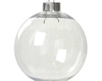 83mm Hollow Clear Plastic Ornament - Medium Christmas Ornament - DIY Ornament - 83mm Ball - Clear Ornament - Clear Ball Ornament - 7-143