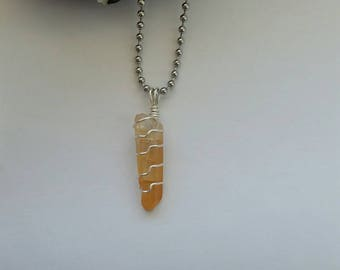 Strength -Tangerine Quartz Necklace, Tangerine Quartz Point, Wire Wrapped Pendant, Crystal Pendant, Sterling Silver Jewelry, Crystal Healing