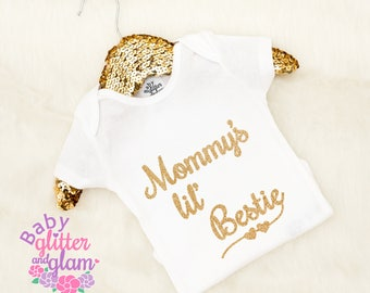 Baby Girl Mommy's Bestie Outfit, Mommy's Lil Bestie Bodysuit, I Love Mommy, Mommy's Best Friend Mommy and Me Newborn Outfit Baby Shower Gift