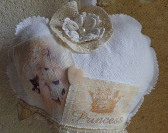 """Heart hanging in linen white shabby chic """"my little Princess"""""""