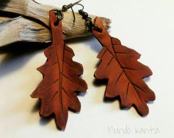 Leather oak leaf earrings. Oak Leaf Earrings in leather